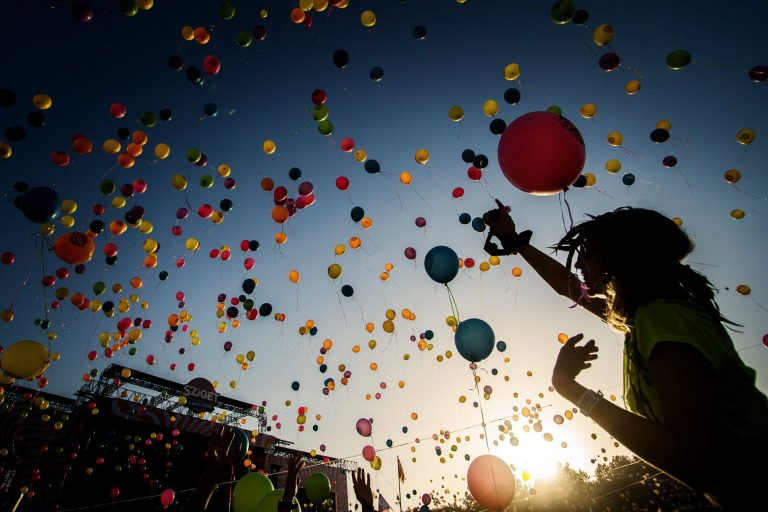 multi colored balloons floating